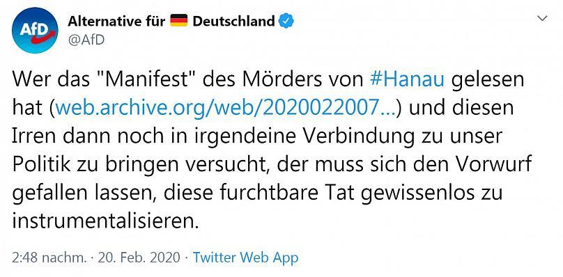 AfD zu Terroranschlag in Hanau