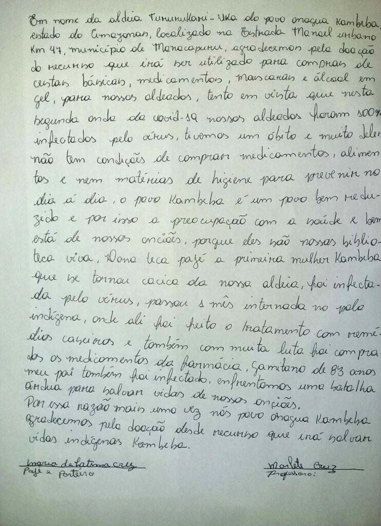 Der Brief von Marlete Cruz da Costa